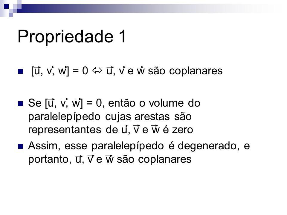 Propriedade 1 [u, v, w] = 0  u, v e w são coplanares